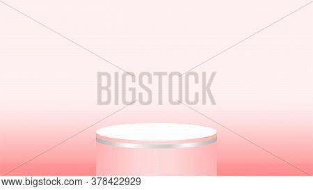 Red Pedestal Cylinder For Cosmetics Showcase, Podium Red Pastel Soft Color, Podium Round For Make-up