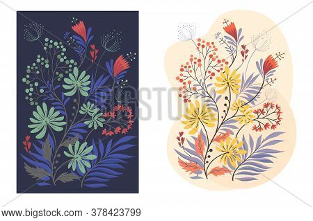 Bouquet Of Bright Flower Decoration Vector Illustration