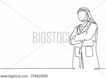One Single Line Drawing Of Young Muslim Arabian Doctor Pose Standing And Put The Hands Cross In Fron