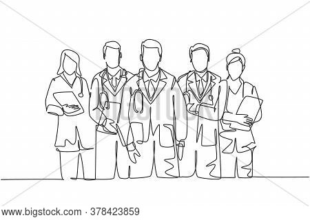 Single Continuous Single Line Drawing Group Of Talented Male And Female Doctors Standing And Posing