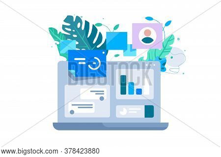 Laptop Computer And Co Working Vector Illustration