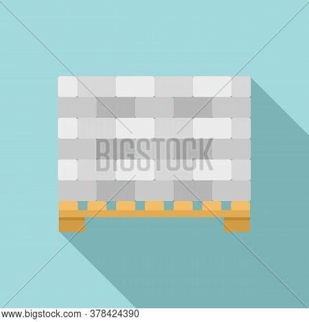 Stone Bricks On Pallet Icon. Flat Illustration Of Stone Bricks On Pallet Vector Icon For Web Design