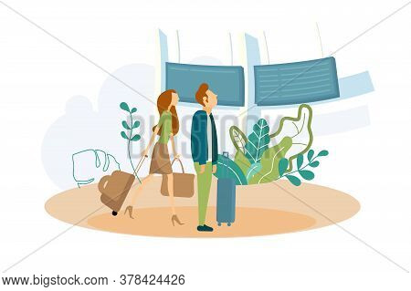 People Check Information Vector Illustration. Tourists With Baggage In Airport Flat Style. Screen Wi