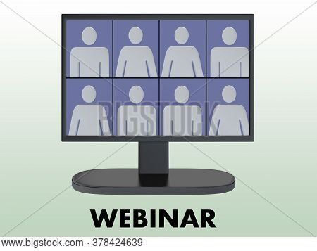 3d Illustration Of Eight Persons In A Webinar, Isolated On Green Background.