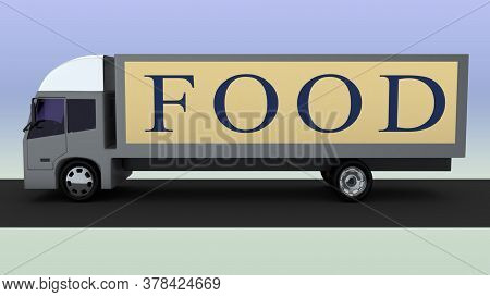3d Illustration Of A Truck With Food Title On It's Side