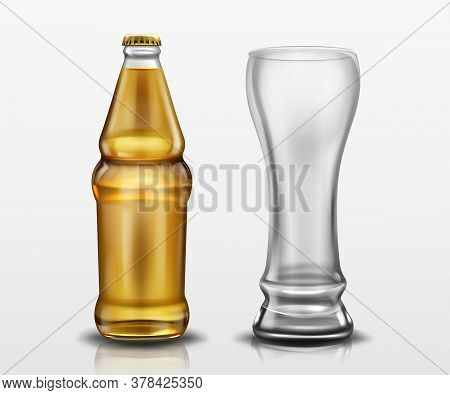 Clear Bottle With Beer And Empty Tall Glass. Vector Realistic Mockup Of Blank Lager Or Craft Beer Bo