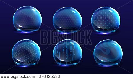 Force Shield Bubbles, Energy Glowing Spheres Or Defense Dome Fields. Science Fiction Various Deflect