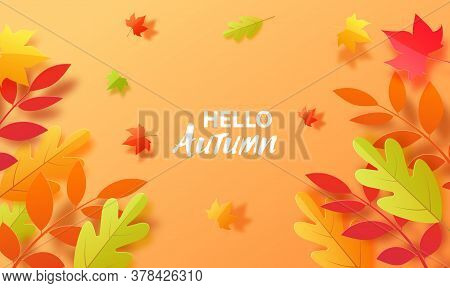 Autumn Background In Cut Paper Style. Papercut Falling Leaves Autumn Wallpaper. Autumn Leaf Is Cut O
