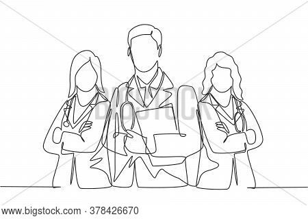 One Continuous Single Line Drawing Group Of Young Male And Female Doctors Pose Standing Together Whi