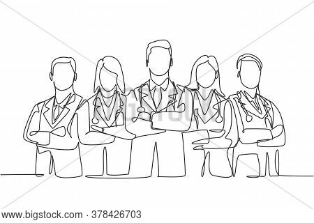 Single Continuous Single Line Drawing Group Of Young Promising Doctor Posing Standing And Cross Hand