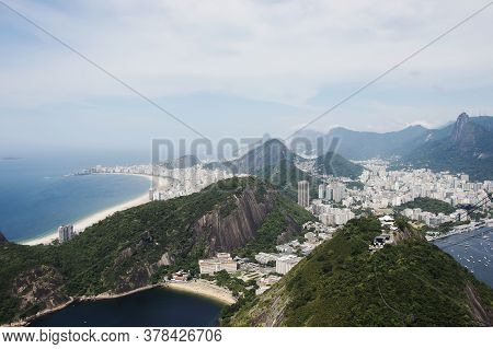 Rio De Janeiro; Brazil - February, 12, 2019: View Over Copacabana Beach From Sugarloaf Mountain In R