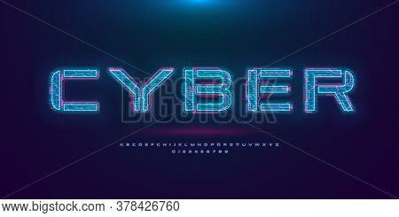 Futuristic Cyberpunk Hologram Font. Modern English Alphabet With Blue Hud Neon Effect And Pink Print