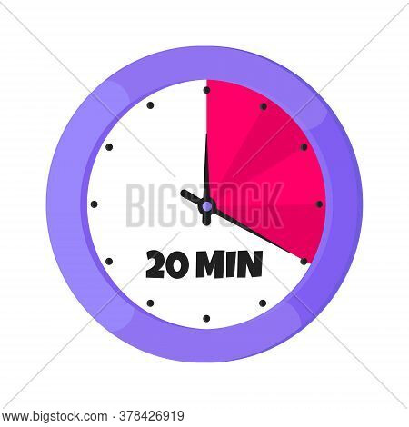 Twenty Minutes On Analog Clock Face Flat Style Design Vector Illustration Icon Sign Isolated On Whit