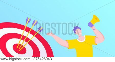 Goal Achievemen Business Concept Sport Target Icon And Arrows In The Bullseye. Tiny Person With Mega
