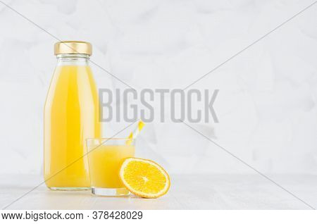 Bright Fresh Orange Juice In Glass Bottle Template With Wine Glass Decorated Straw, Fruit Slices In