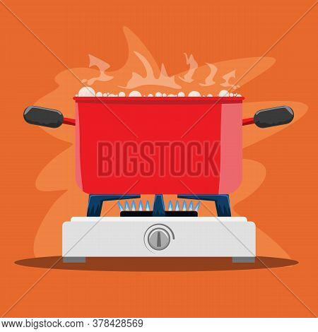 Boiling Cooking Pot On Gas Stove. Flat And Solid Color Vector Illustration.