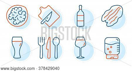 Pecan Nut, Cutting Board And Food Signs. Water Cooler, Wine Bottle And Bordeaux Glass Line Icons Set
