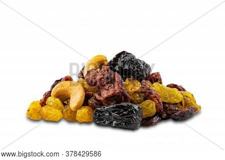 Pile Of Mixed Various Dried Fruit On White Background With Clipping Path.