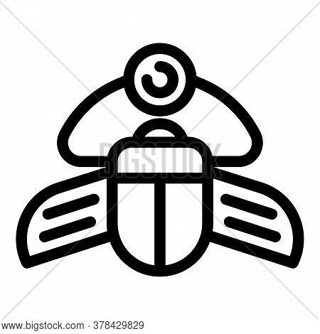 Ancient Scarab Beetle Icon. Outline Ancient Scarab Beetle Vector Icon For Web Design Isolated On Whi