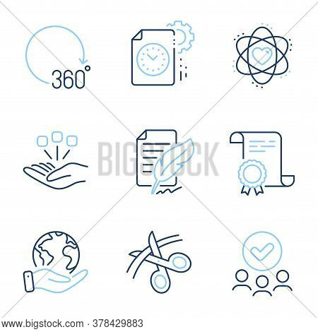 Scissors, Project Deadline And 360 Degrees Line Icons Set. Diploma Certificate, Save Planet, Group O