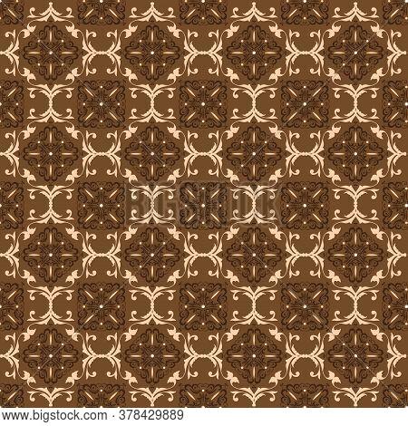 Elegance Flower Pattern In Javanese Batik With Simple Dark Brown Color Design.