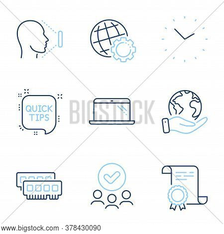 Ram, Laptop And Time Line Icons Set. Diploma Certificate, Save Planet, Group Of People. Globe, Face