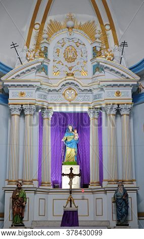 KOLKATA, INDIA - MARCH 01, 2020: Main altar at Holy Rosary Catholic Cathedral, commonly known as the Portuguese Church, Kolkata, West Bengal, India