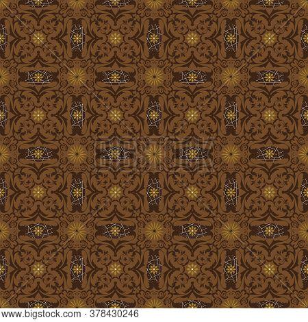 Jogja Batik Motifs With Very Distinctive Flower Patterns And Dark Brown Color Design.