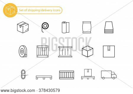 Set Of Delivery And Shipping Icons. Outline Linear Black Icons. Logistic Service Set With Box, Palle