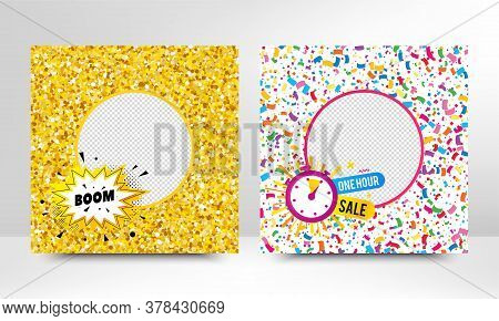 Boom Cartoon Explosion And One Hour Sale. Sale Banner With Gold Glitter, Confetti. Discount Offer Ba