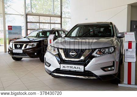Vologda, Russia - June 18, 2019: Cars In Showroom Of Dealership Nissan In Vologda In Russia