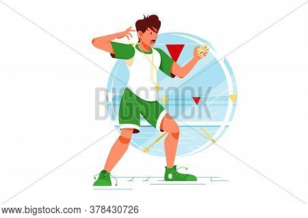 Screaming Sport Coach Swimming Man With Stopwatch For Training. Isolated Concept Worried Male Mentor