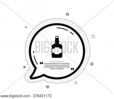 Whiskey Bottle Icon. Quote Speech Bubble. Scotch Alcohol Sign. Quotation Marks. Classic Whiskey Bott