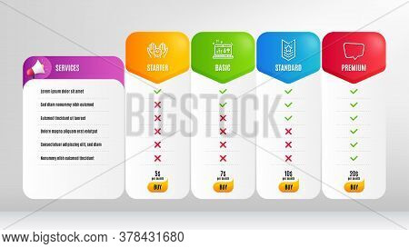 Chat Message, Safe Time And Sound Check Line Icons Set. Pricing Table, Price List. Shoulder Strap Si