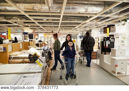 Kazan, Russia - December 22, 2019: Interior Of Large Ikea Store With A Wide Range Of Products In Rus