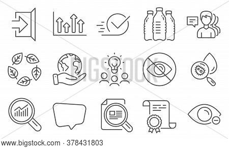 Set Of Business Icons, Such As Water Bottles, Water Analysis. Diploma, Ideas, Save Planet. People, O