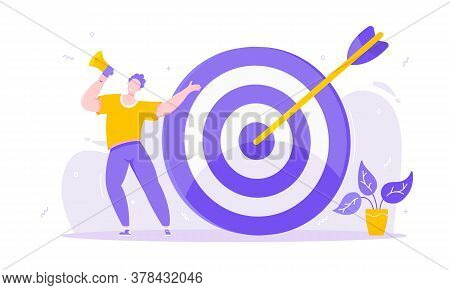 Goal Achievemen Business Concept Sport Target Icon And Arrow In The Bullseye. Tiny Person With Megap