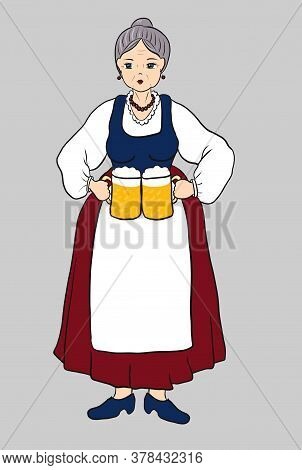 German Bavarian Woman With Glass Or Mugs Of Beer. Old Lady In National Dress Costume With Two Pints