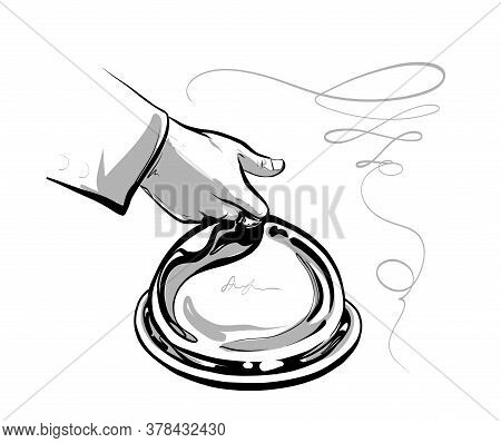 The Waiter S Hand Serves A Closed Dish. Fine Haute Cuisine. The Logo Is Black And White. Illustratio