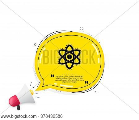 Chemistry Atom Icon. Quote Speech Bubble. Laboratory Molecule Sign. Analysis Symbol. Quotation Marks