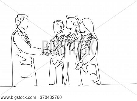 One Continuous Single Line Drawing Of Hospital Head Giving Congratulate Handshake To Group Of Doctor