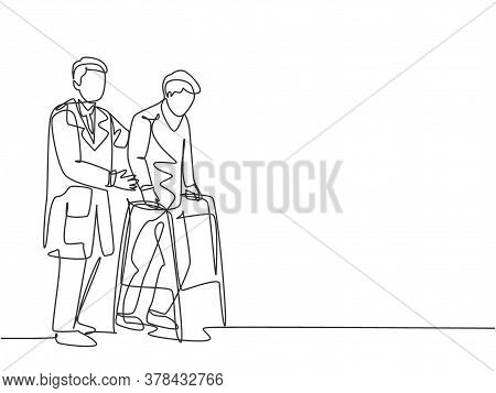 Single Continuous Single Line Drawing Of Young Male Doctor Give Help To The Patient To Walk Therapy