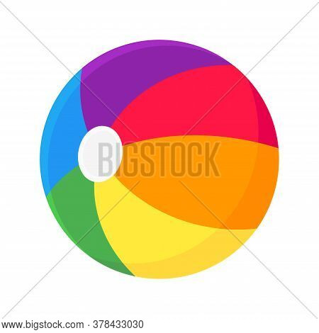 Inflatable Beach Ball Flat Style Design Vector Illustration Icon Sign Isolated On White Background.