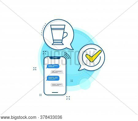 Hot Drink Sign. Phone Messages Complex Icon. Latte Coffee Icon. Beverage Symbol. Messenger Chat Scre