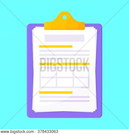 Clipboard With Claim Form On It, Paper Sheets Isolated On Light Blue Background Flat Style Design Ve