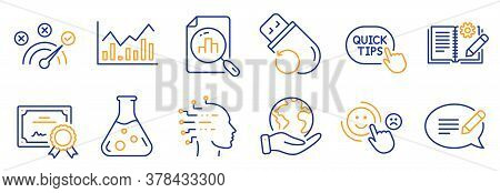 Set Of Education Icons, Such As Message, Quick Tips. Certificate, Save Planet. Engineering Documenta