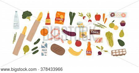 Set Of Different Grocery Food And Drink Products Vector Flat Illustration. Collection Of Various Fru