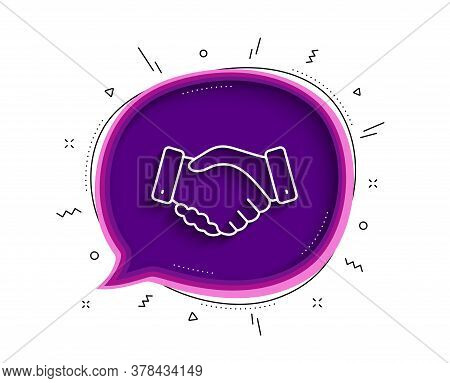 Employees Handshake Line Icon. Chat Bubble With Shadow. Hand Gesture Sign. Business Deal Palm Symbol