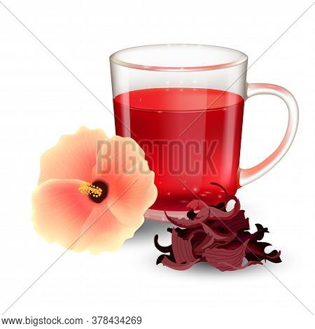 Hibiscus Tea In A Glass Mug And Flower Isolated On A White Background. Dry Roselle Bract Tea. Realis