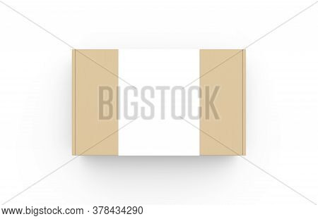 Craft Cardboard Box Container With Clear White Label Template. Realistic Carton Texture Packaging Mo